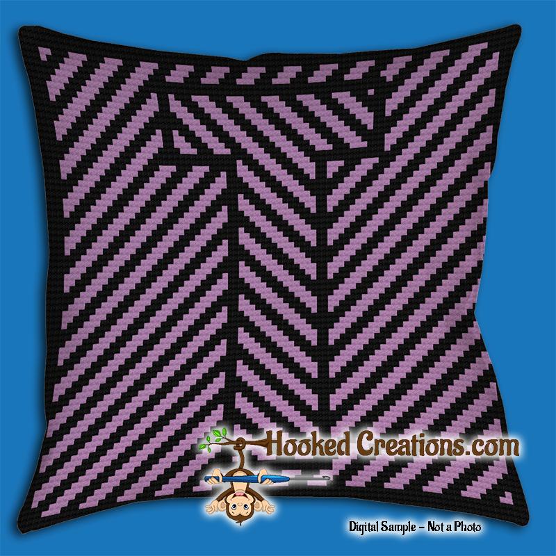 Optical Alphabet T Sc Single Crochet Throw Pillow Graphghan