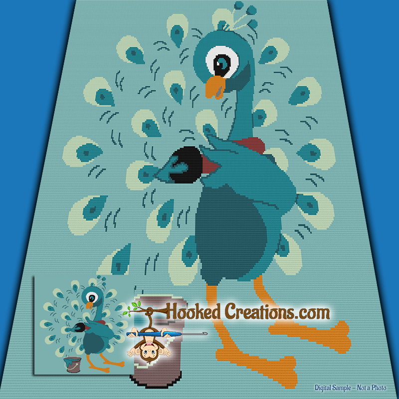 Painted Peacock SC (Single Crochet) Throw Blanket Graphghan Crochet Pattern - PDF Download