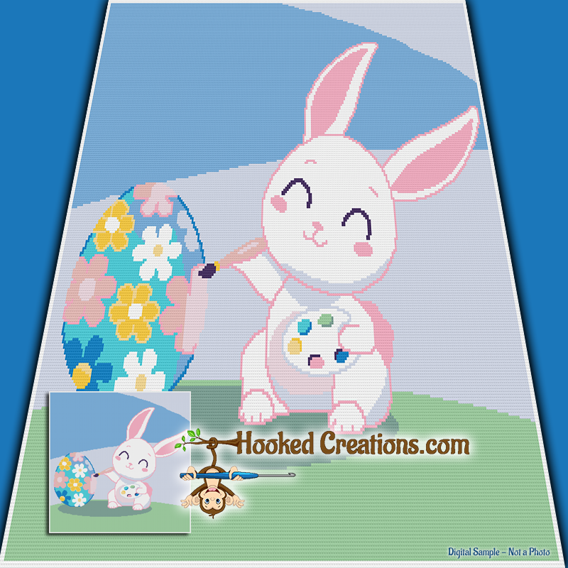Painting Easter Bunny SC (Single Crochet) Throw Blanket Graphghan Crochet Pattern - PDF Download
