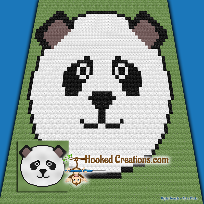 Panda Face C2C (Corner to Corner) Baby Blanket Graphghan Crochet Pattern - PDF Download