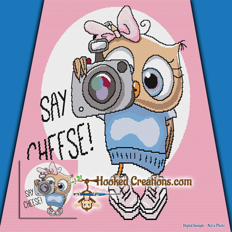Photographer Owl SC (Single Crochet) Throw Blanket Graphghan Crochet Pattern - PDF Download