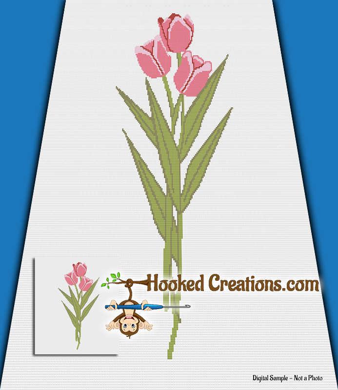 Pink Tulip SC (Single Crochet) Throw Blanket Graphghan Crochet Pattern - PDF Download