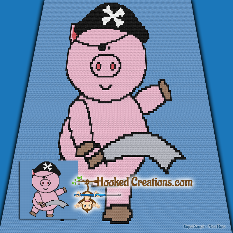 Mini C2c Pattern: Pirate Pig Mini C2C Throw Blanket Crochet Pattern