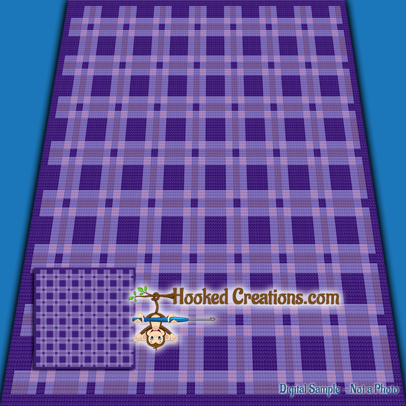 Plaid Baby Blanket TSS (Tunisian Simple Stitch)-Right Handed Graphghan Crochet Pattern - PDF Download