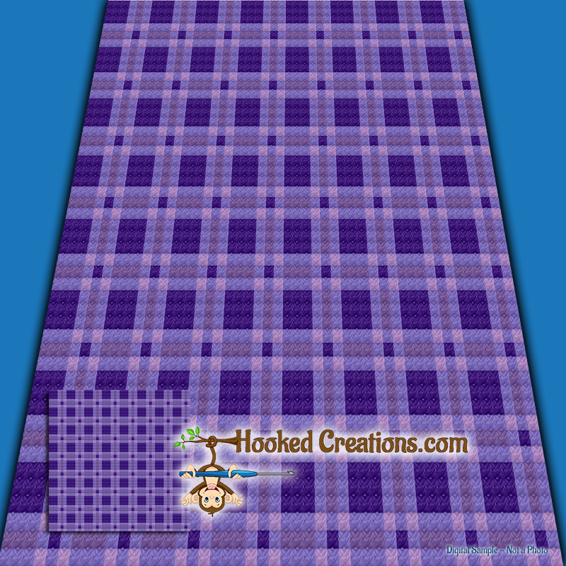 Plaid Baby Blanket Purple C2c Crochet Pattern Pdf