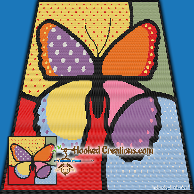 Pop Art Butterfly SC (Single Crochet) Throw Sized Blanket Graphghan Crochet Pattern - PDF Download