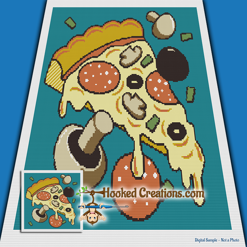 Pop Art Pizza SC (Single Crochet) Throw Sized Blanket Graphghan Crochet Pattern - PDF Download