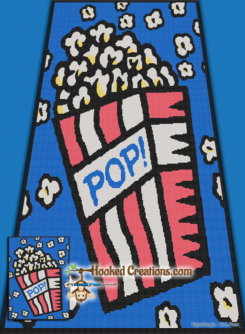 Pop Art Popcorn SC (Single Crochet) Twin Sized Blanket Graphghan Crochet Pattern - PDF Download
