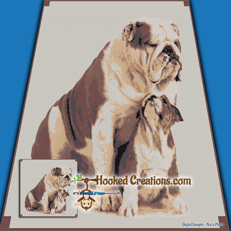 Puppy Love SC (Single Crochet) Throw Blanket Graphghan Crochet Pattern - PDF Download
