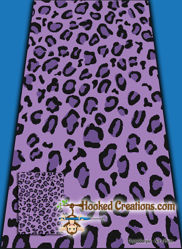 Purple Leopard SC (Single Crochet) Twin Blanket Graphghan Crochet Pattern - PDF Download