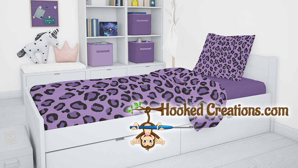 Purple Leopard SC (Single Crochet) Twin Blanket and Pillow Set Graphghan Crochet Pattern - PDF Download