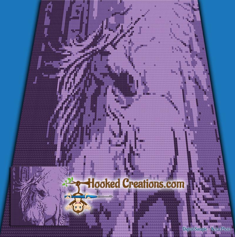 Mini C2c Pattern: Purple Unicorn Mini C2C Throw Sized Blanket Crochet