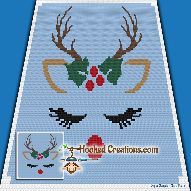 Ragdoll Reindeer Mini C2C Throw Blanket Crochet Pattern - PDF Download