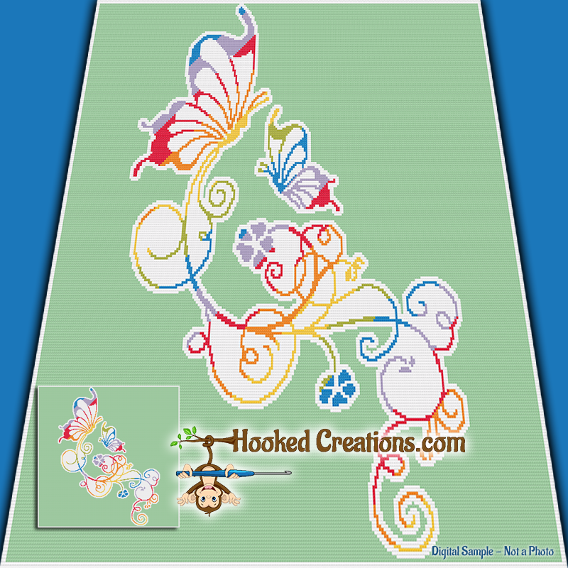 Rainbow Butterflies SC (Single Crochet) Twin Sized Blanket Graphghan Crochet Pattern - PDF Download