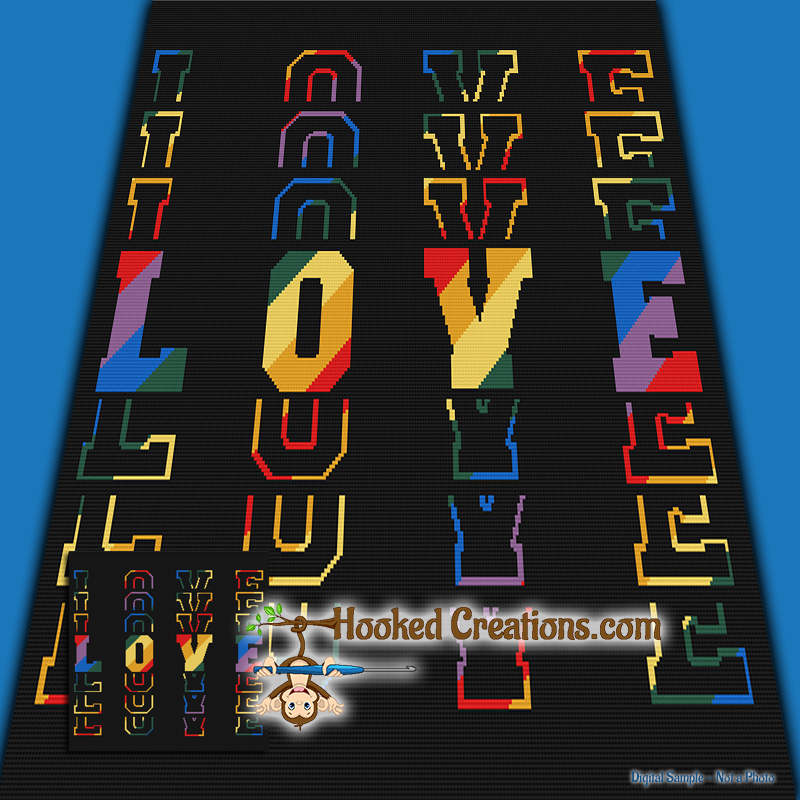 Rainbow Mirrored Love SC (Single Crochet) Throw Blanket Graphghan Crochet Pattern - PDF Download
