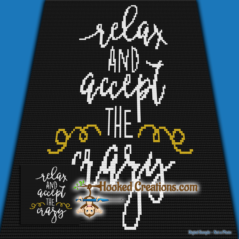 Relax and Accept the Crazy Mini C2C Throw Blanket Crochet Pattern - PDF  Download