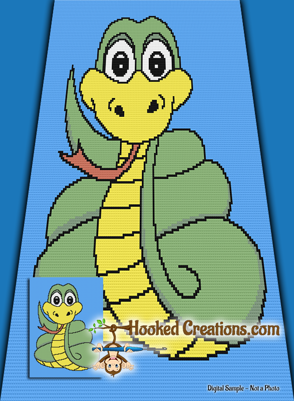 Slither Mini C2C (Modified Corner to Corner) Twin Blanket Graphghan Crochet Pattern - PDF Download