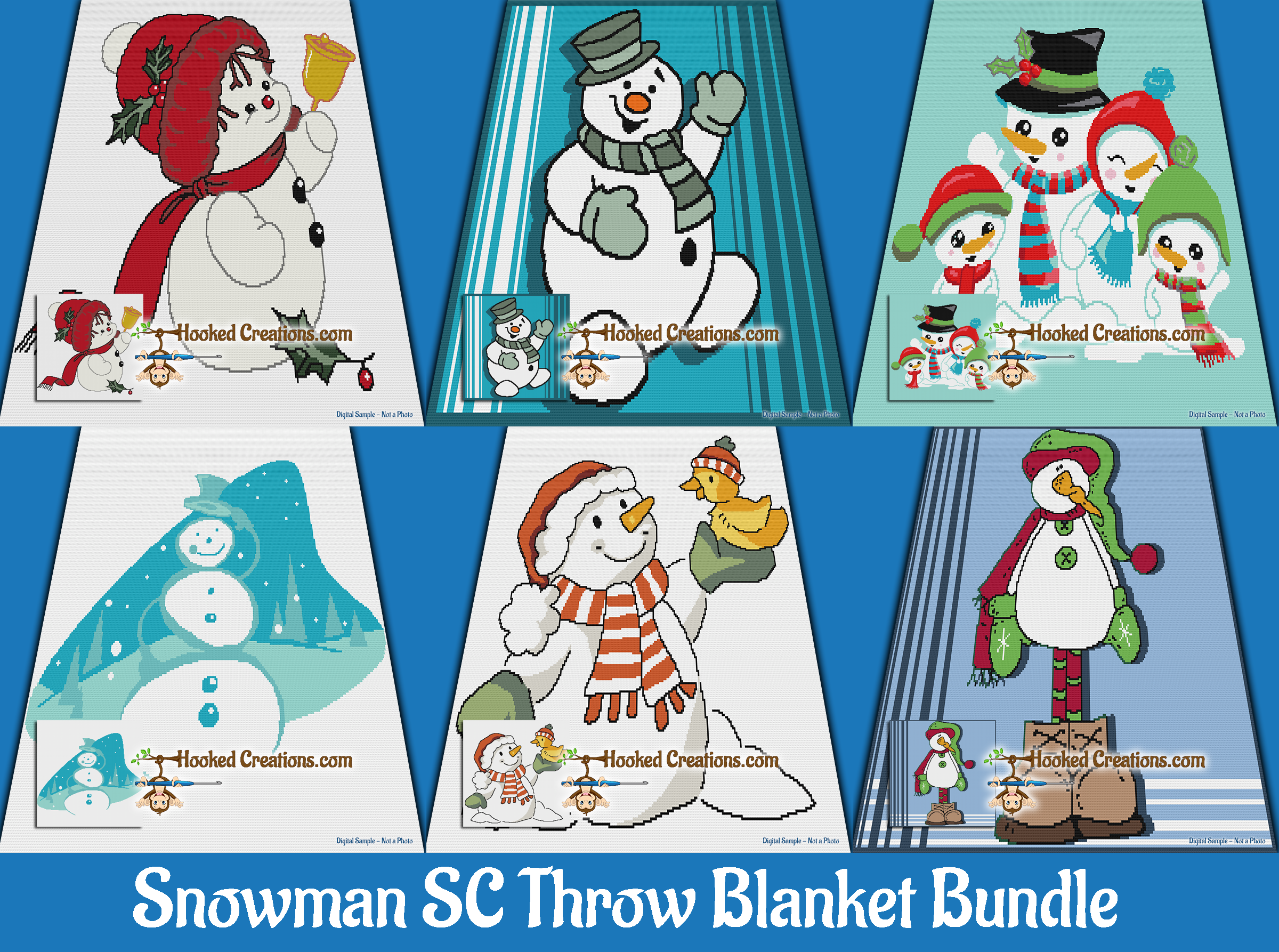 Snowman Throw Blanket SC (Single Crochet) Bundle Graphghan Crochet Patterns  - PDF Download