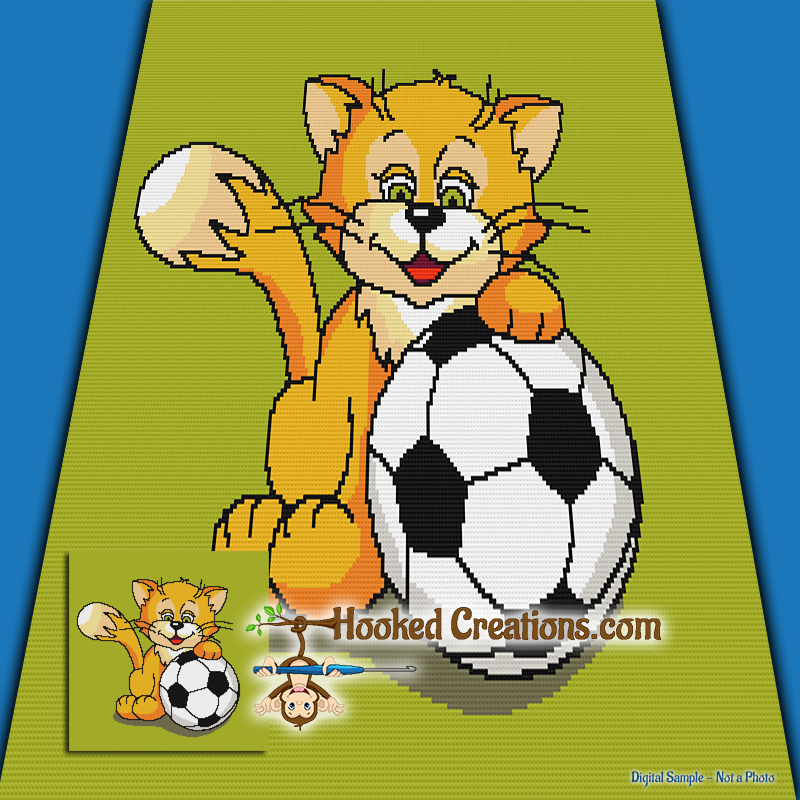 Soccer Cat Sc Throw Blanket Crochet Pattern Pdf Download