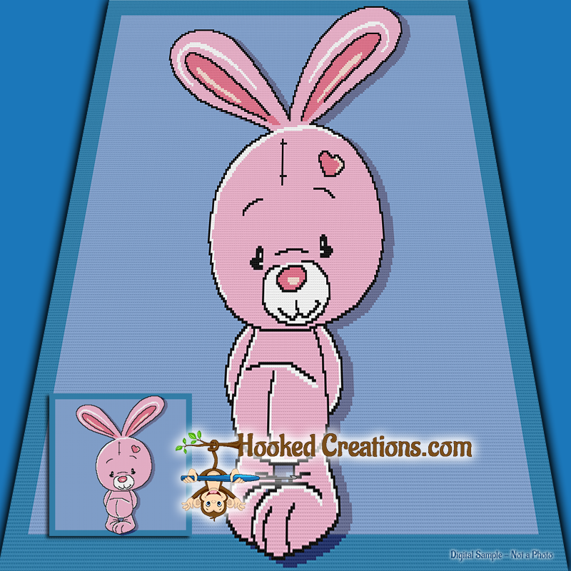 Some Bunny Loves You SC (Single Crochet) Throw Blanket Graphghan Crochet Pattern - PDF Download