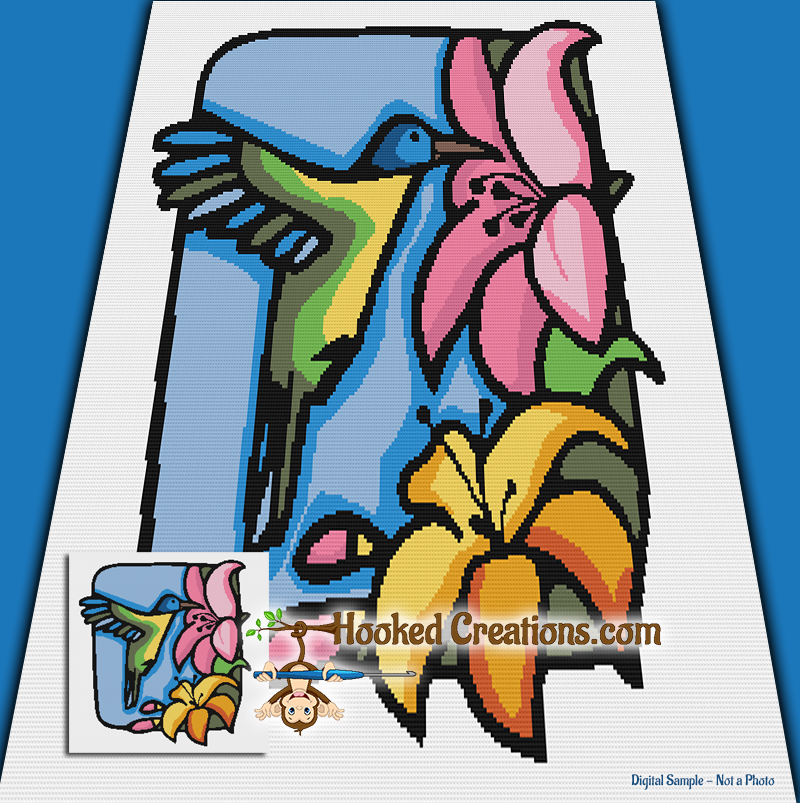 Stained Glass Humming Bird SC (Single Crochet) Throw Blanket Graphghan Crochet Pattern - PDF Download