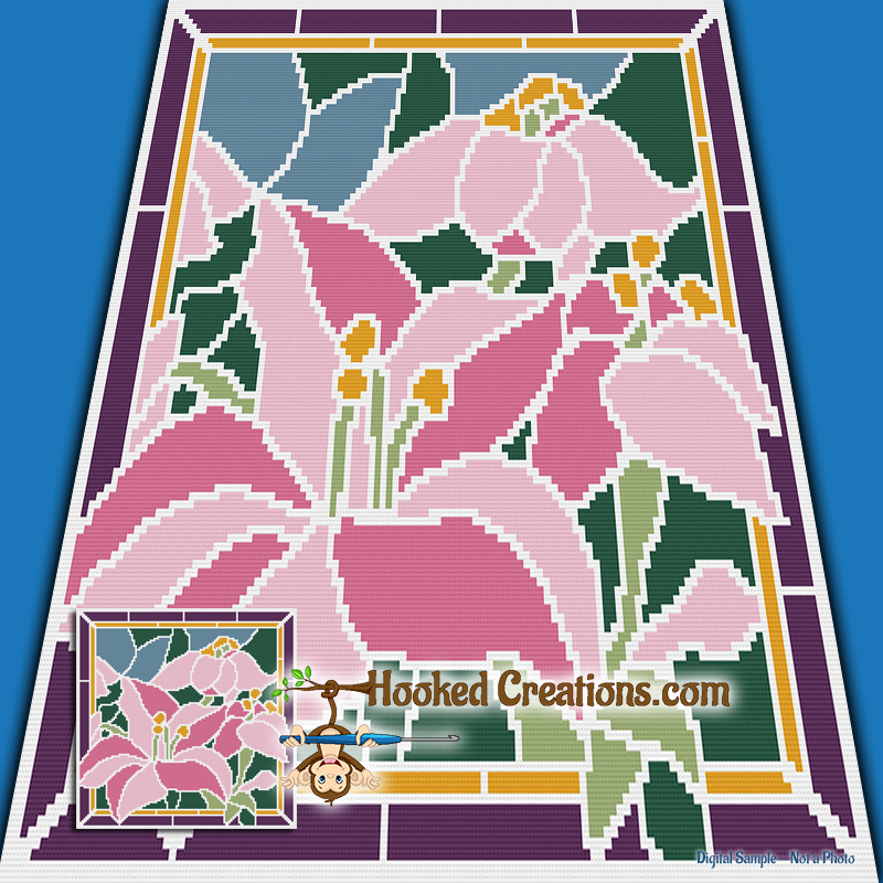 Stained Glass Lilies Mini C2C (Modified Corner to Corner) Throw Blanket Graphghan Crochet Pattern - PDF Download