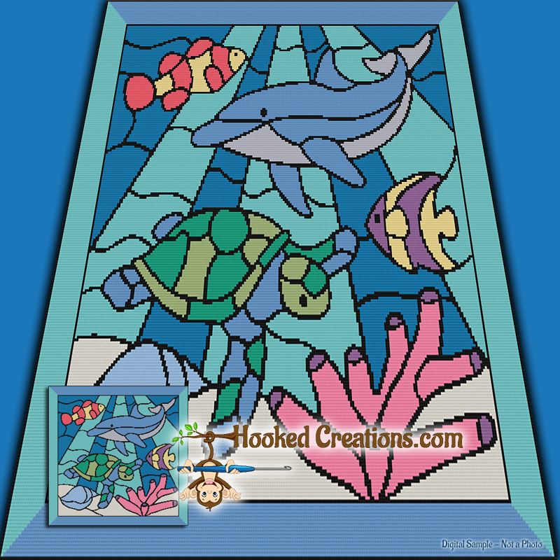 Stained Glass Sea Life SC (Single Crochet) Throw Blanket Graphghan Crochet Pattern - PDF Download