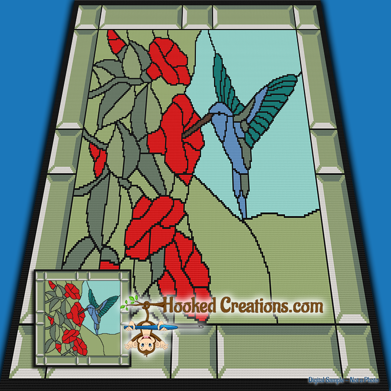 Stained Window Humming Bird SC (Single Crochet) Throw Blanket Graphghan Crochet Pattern - PDF Download