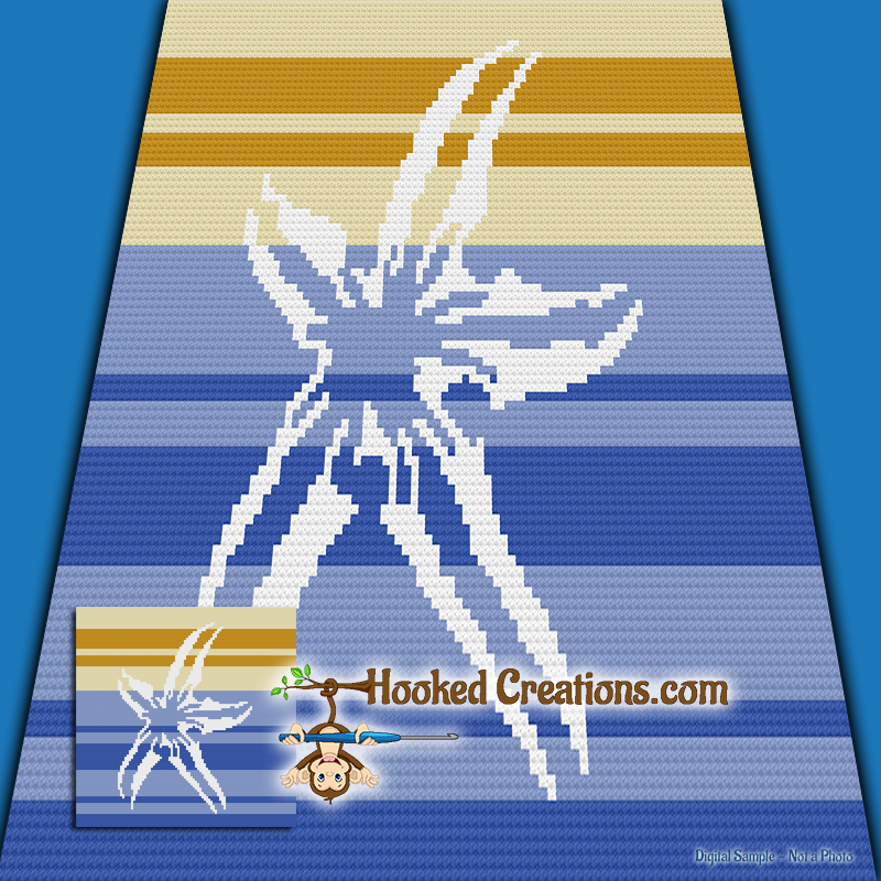 Starfish Mini C2C (Modified Corner to Corner) Throw Blanket Graphghan Crochet Pattern - PDF Download