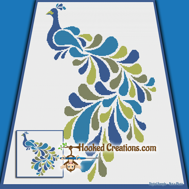 Stencil Peacock SC (Single Crochet) Throw Blanket Graphghan Crochet Pattern - PDF Download