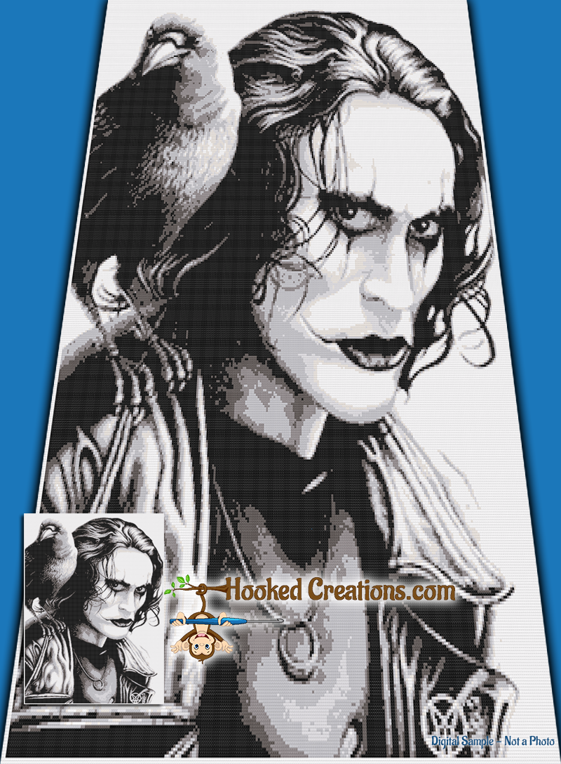 The Crow SC (Single Crochet) Twin Sized Blanket Graphghan Crochet Pattern - PDF Download