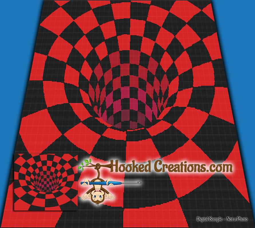 There's a Hole in my Bed TSS (Tunisian Simple Stitch)-Right Handed Queen Sized Blanket Graphghan Crochet Pattern - PDF Download