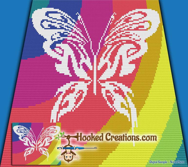 Mini C2c Pattern: Tribal Butterfly Mini C2C Throw Sized Blanket Crochet