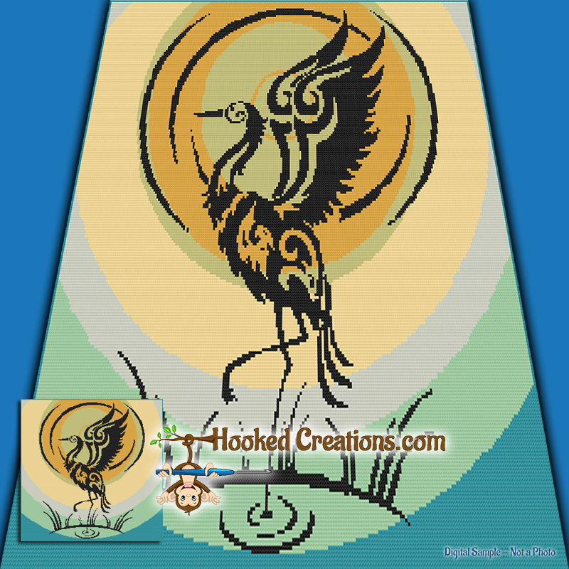 Tribal Crane SC (Single Crochet) Throw Sized Blanket Graphghan Crochet Pattern - PDF Download