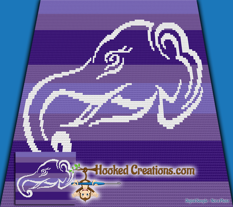 Tribal Elephant Mini C2C (Modified Corner to Corner) Throw Blanket Graphghan Crochet Pattern - PDF Download