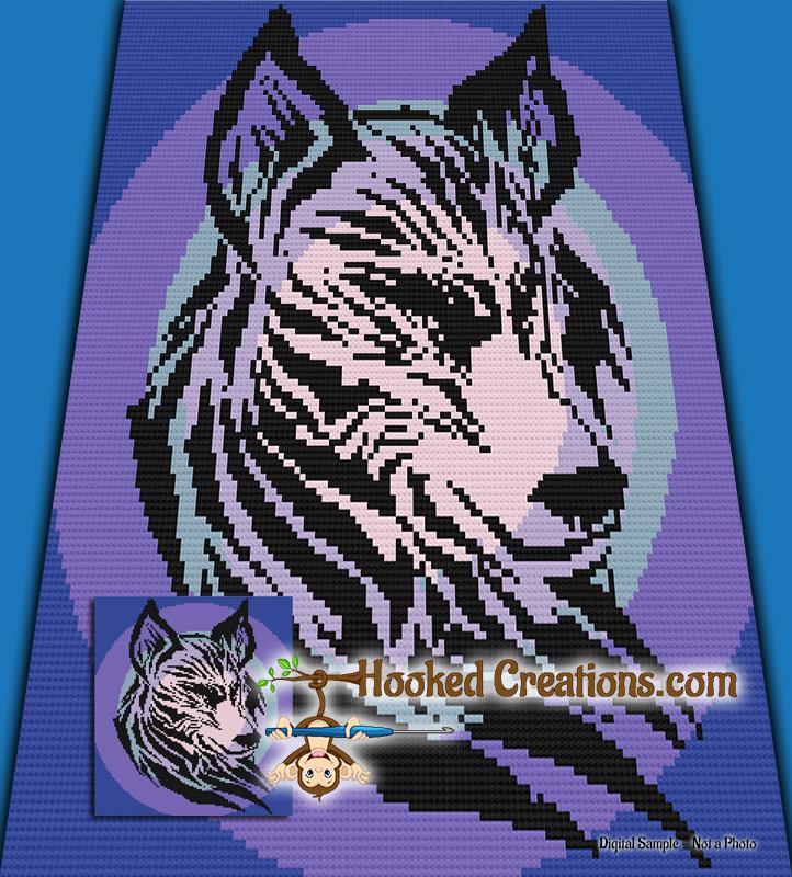 Tribal Wolf C2c Queen Sized Blanket Crochet Pattern Pdf Download