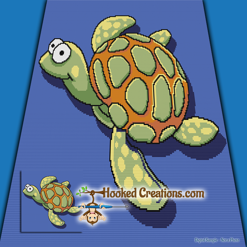 Turtle Life SC (Single Crochet) Throw Blanket Graphghan Crochet Pattern - PDF Download