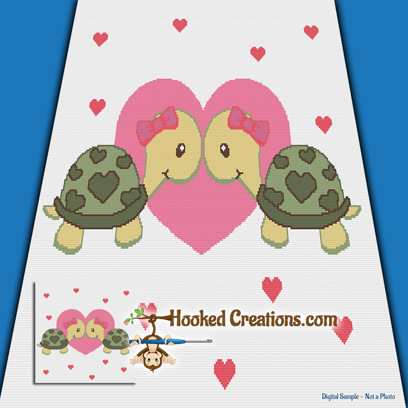 Turtlely In Love Girls SC (Single Crochet) Throw Blanket Graphghan Crochet Pattern - PDF Download