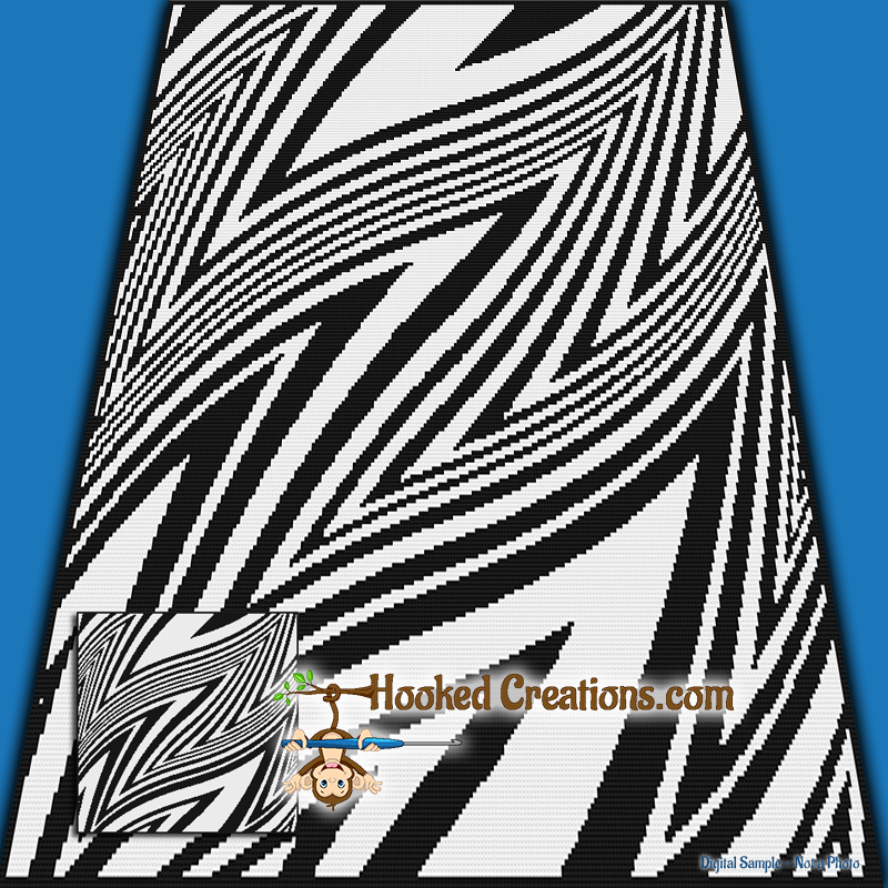 Twisted Zebra SC (Single Crochet) Throw Blanket Graphghan Crochet Pattern - PDF Download