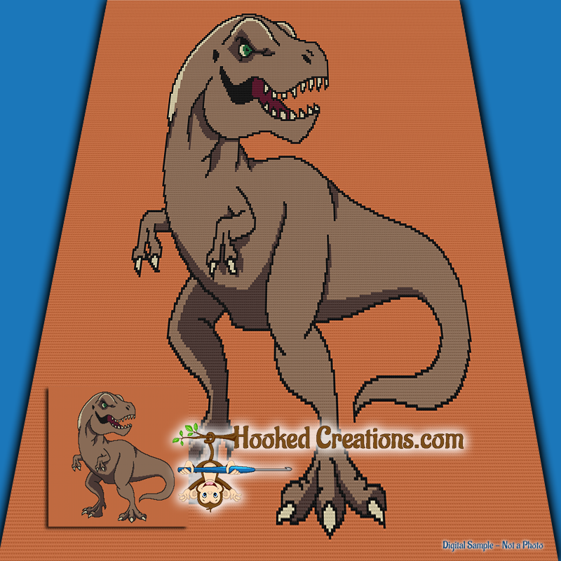 Tyrannosaurus Rex SC (Single Crochet) Throw Blanket Graphghan Crochet Pattern - PDF Download