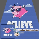 When Pigs Fly SC (Single Crochet) Throw Size Blanket Graphghan Crochet Pattern - PDF Download