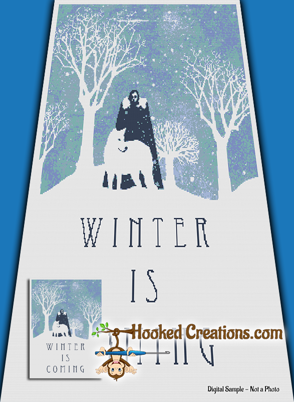 Winter is Coming SC (Single Crochet) Twin Blanket Graphghan Crochet Pattern - PDF Download