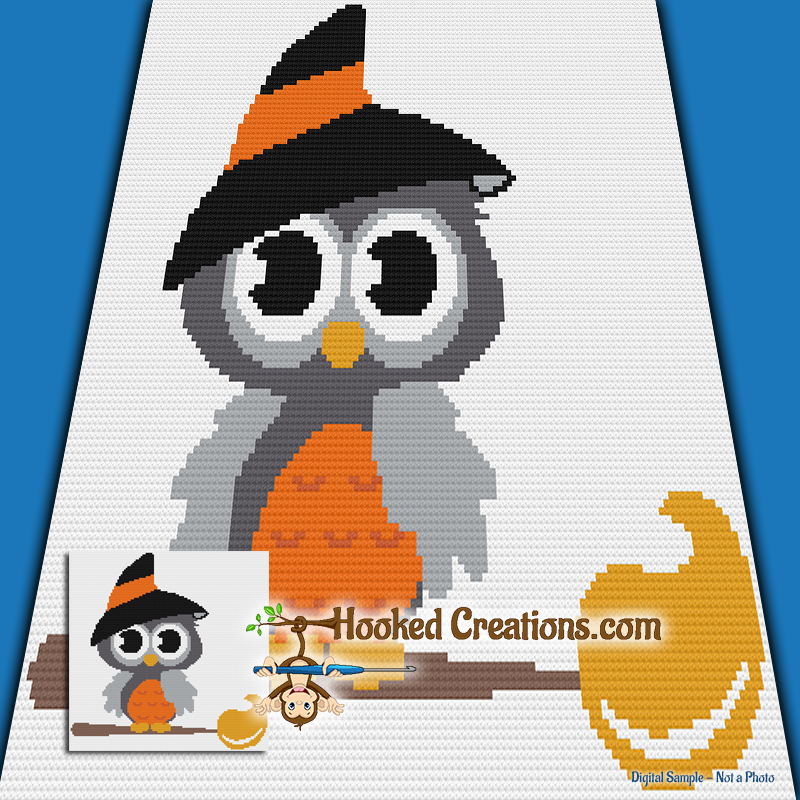 Witchy Owl Mini C2C (Modified Corner to Corner) Throw Blanket Graphghan Crochet Pattern - PDF Download