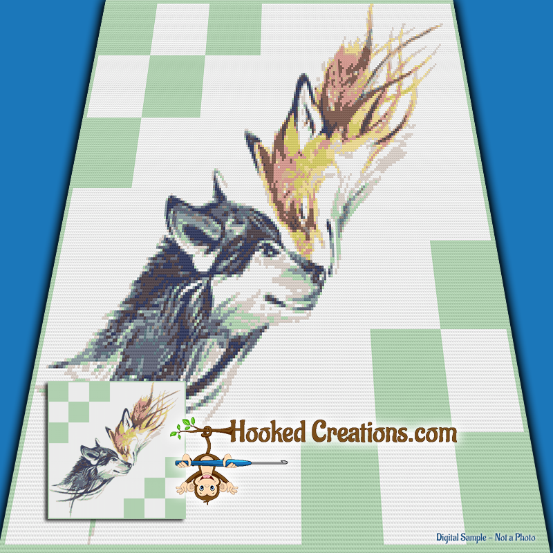 A Wolf and a Fox SC (Single Crochet) Throw Blanket Graphghan Crochet Pattern - PDF Download