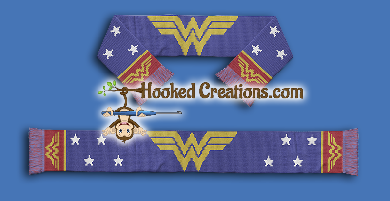 WONDER WOMAN SCARF SC (Single Crochet) Scarf Graphghan Crochet Pattern - PDF Download