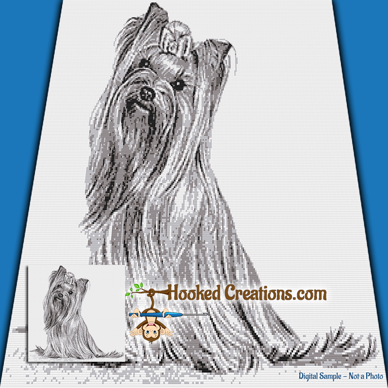 Yorkshire Terrier SC (Single Crochet) Throw Blanket Graphghan Crochet Pattern - PDF Download