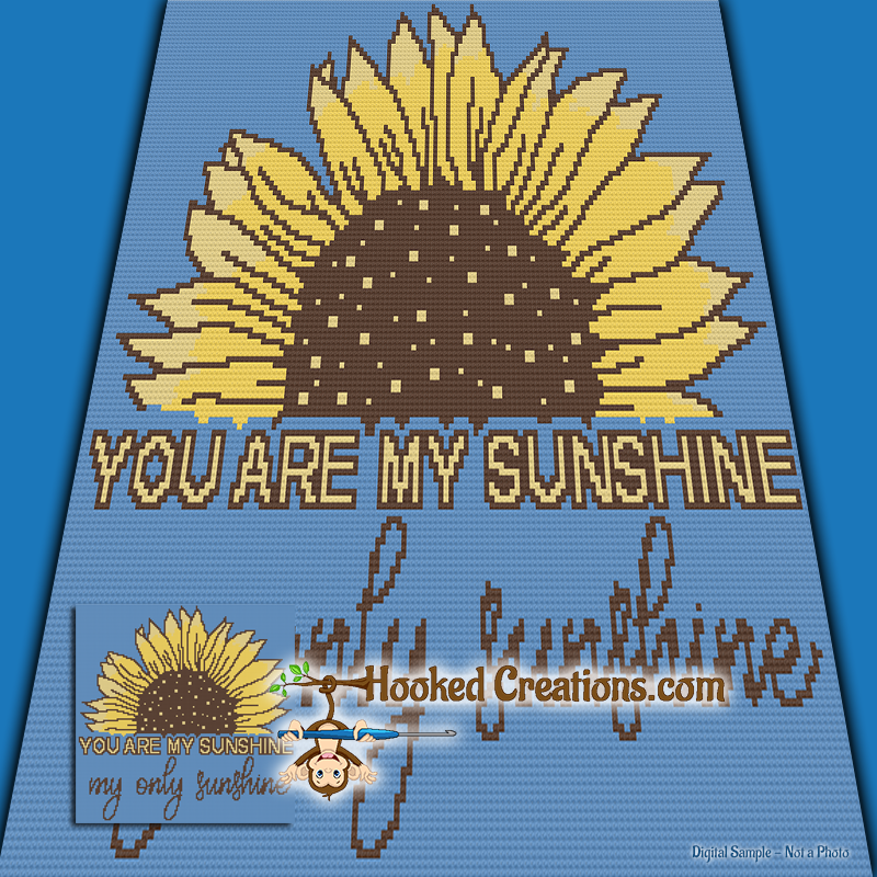 You are my Sunshine SC (Single Crochet)  Baby Blanket Graphghan Crochet Pattern - PDF Download
