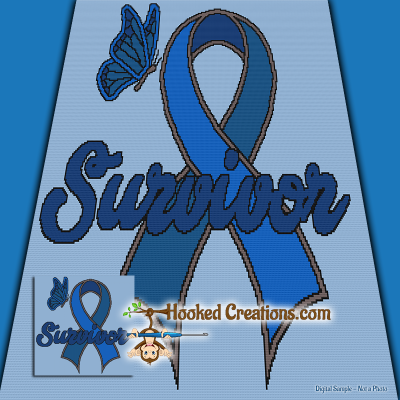 Colon Cancer Survivor SC (Single Crochet) Throw Blanket Graphghan Crochet Pattern - PDF Download