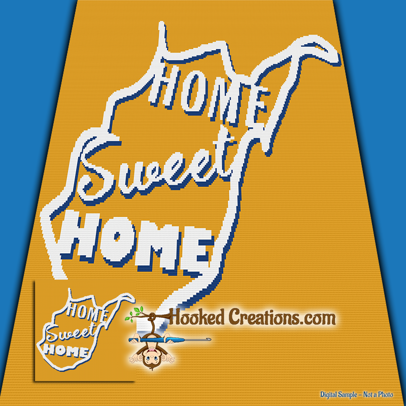 Home Sweet Home West Virginia SC (Single Crochet) Throw Blanket Graphghan Crochet Pattern - PDF Download