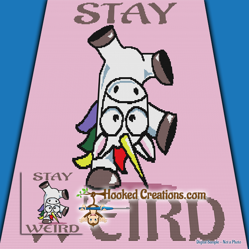 Stay Weird TSS (Tunisian Simple Stitch) - Right Handed Throw Blanket Graphghan Crochet Pattern - PDF Download